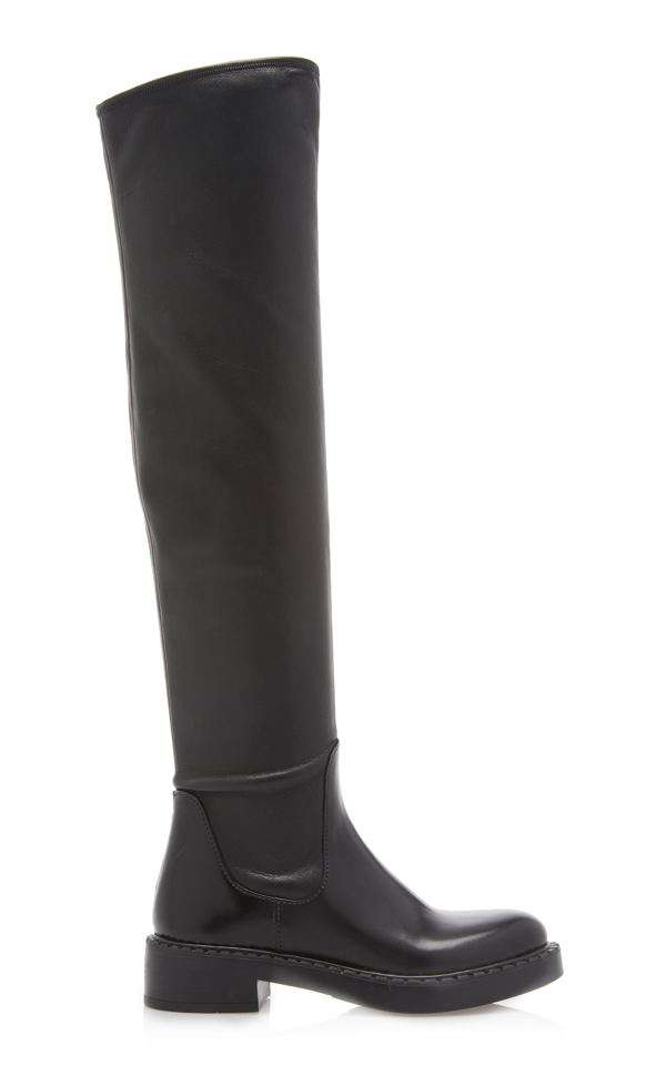 Prada Stretch-leather Over-the-knee Boots In Black