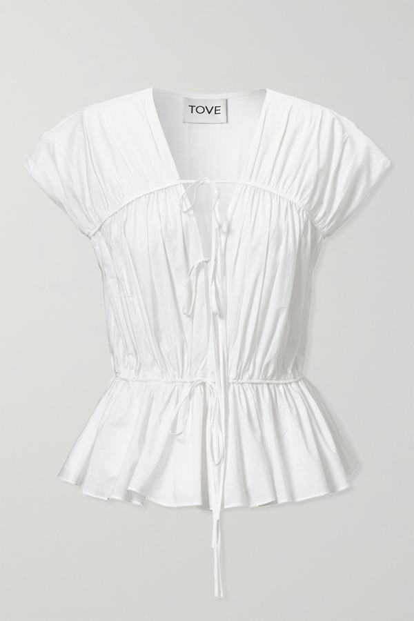 Tove Thea Gathered Organic Cotton-poplin Top In White