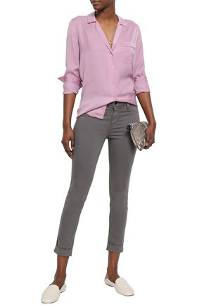 J Brand Cropped Cotton-blend Skinny Pants In Anthracite