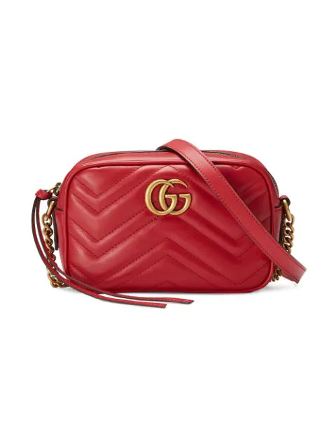 Gucci Gg Marmont Mini Leather Crossbody Bag In Red