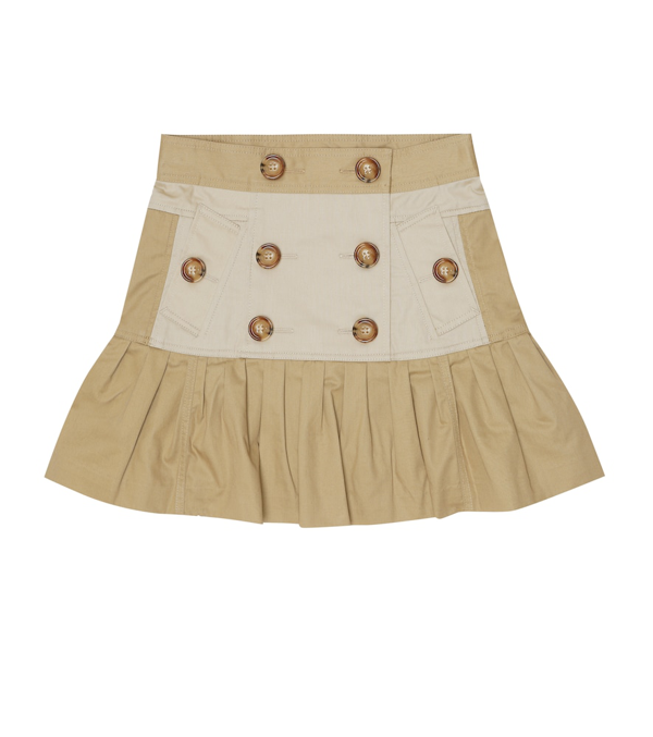 Burberry Kids' Gathered Cotton Twill Trench Skirt In Beige