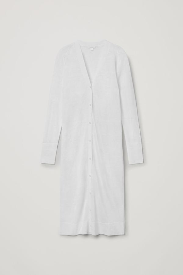 Cos Long Linen-silk Cardigan In White