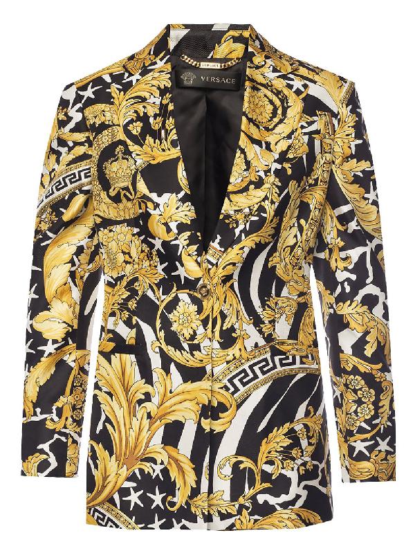 Versace Baroque Print Blazer In Yellow