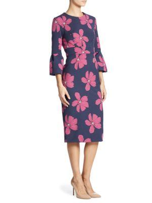 Lela Rose Woman Cotton-Blend Floral-Jacquard Dress Magenta