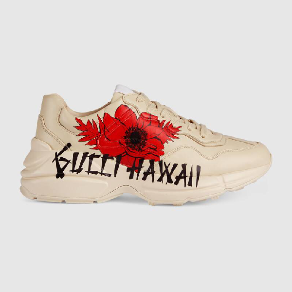 Gucci Rhyton Hawaii-print Sneakers In White