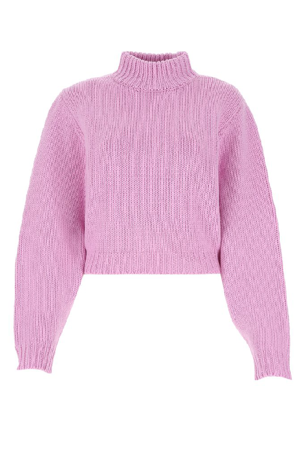 The Row Cropped Cut Sweater In Pink