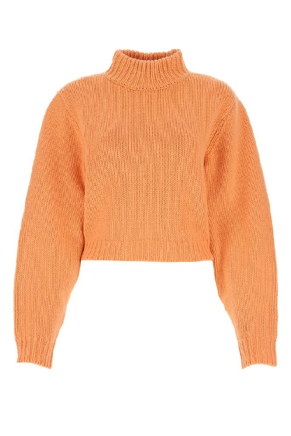 The Row Cropped Cut Sweater In Orange