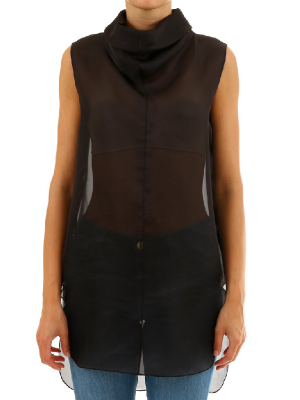 The Row High Neck Sleeveless Top In Black