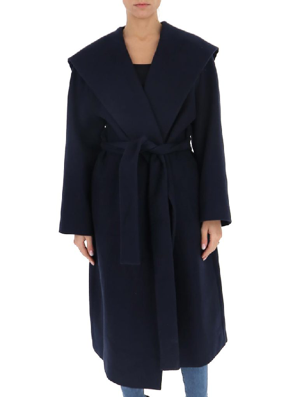 The Row Hooded Coat In Navy