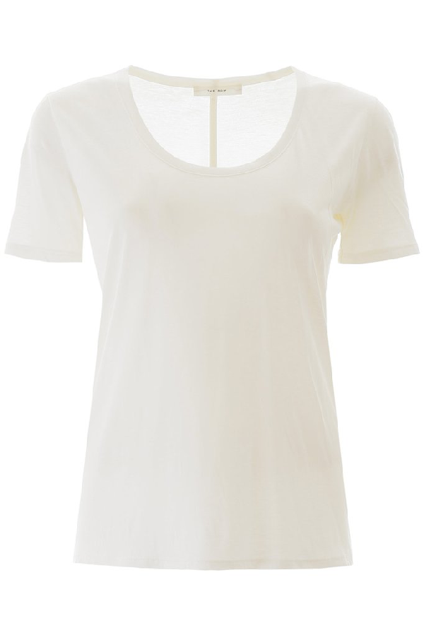 The Row Scoop Neck T In White