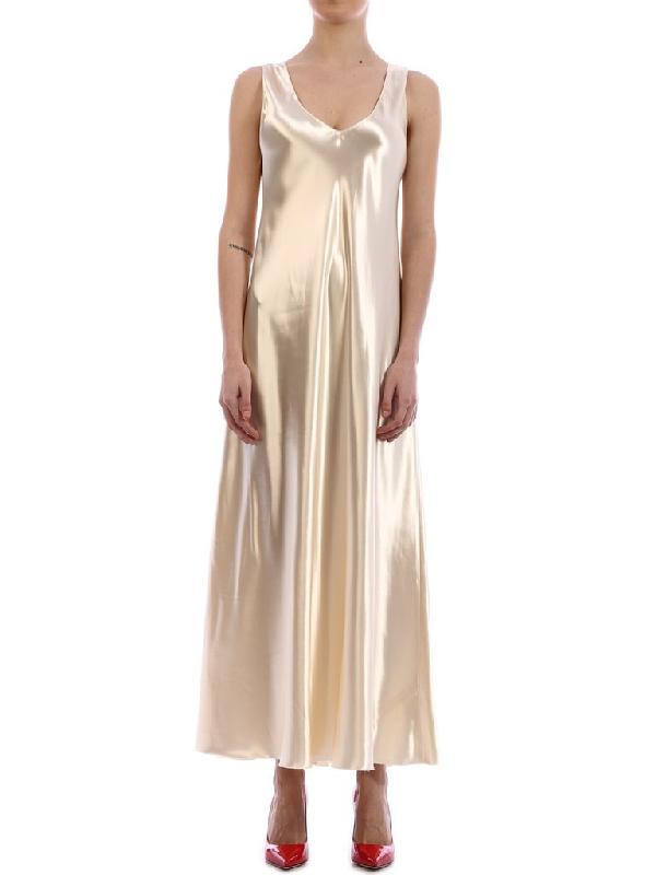 The Row Metallic Maxi Dress In Beige