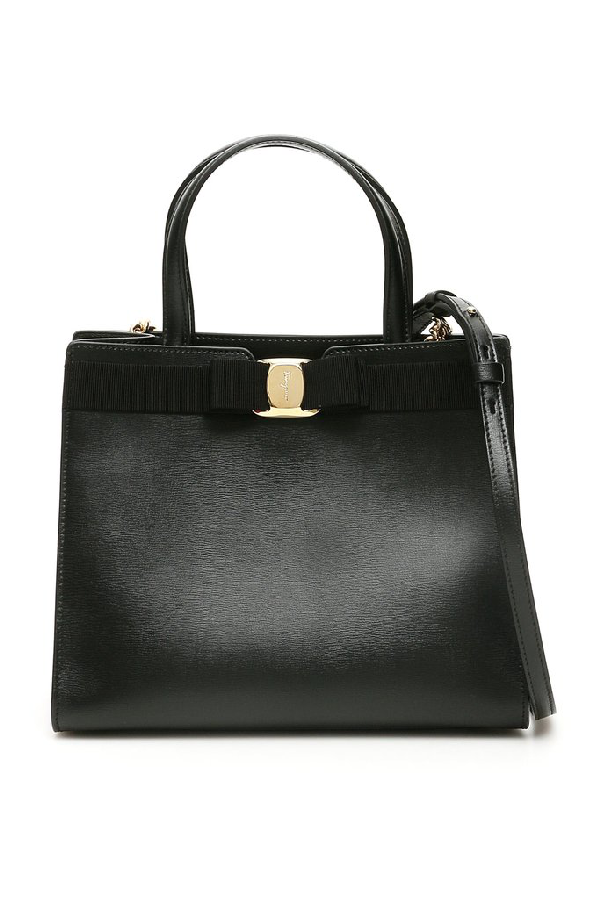 Salvatore Ferragamo Vara Bow Top Handle Bag In Black