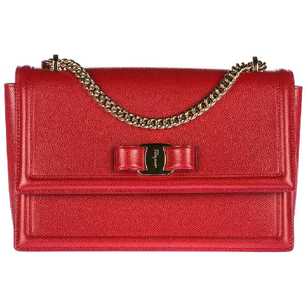 Salvatore Ferragamo Ginny Shoulder Bag In Red