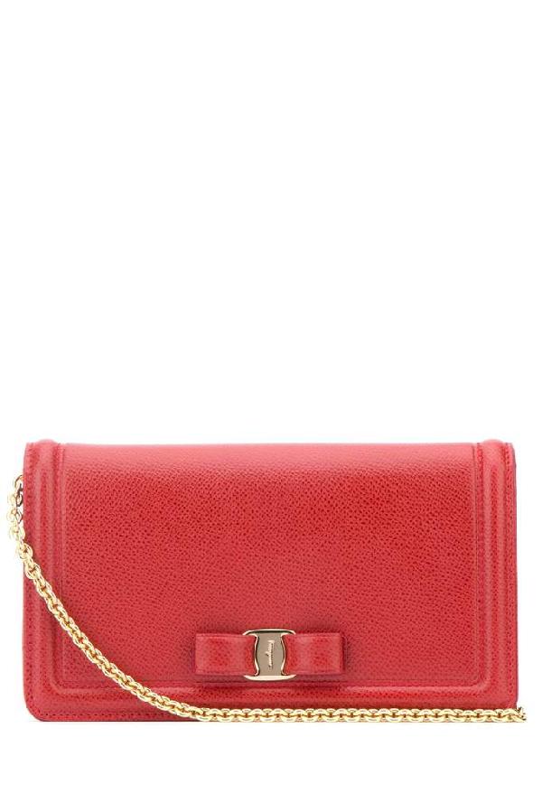 Salvatore Ferragamo Vara Bow Clutch Bag In Red