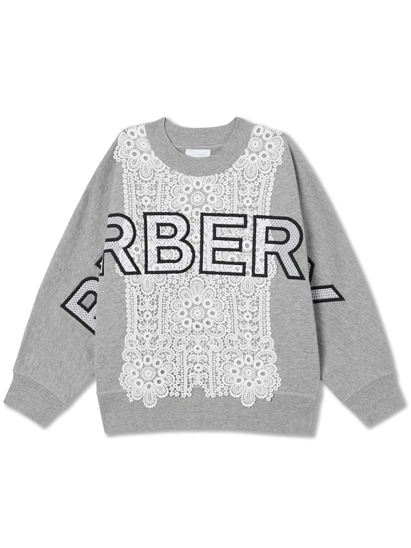 Burberry Kids' Logo Embroidered Lace Panel Cotton Sweatshirt In Grey