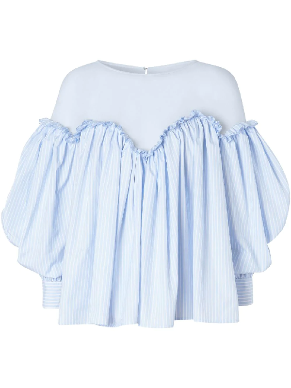Burberry Puff-sleeve Striped Cotton And Jersey Blouse In Blue