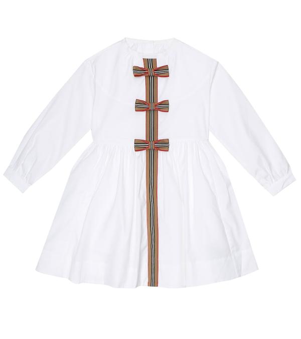 Burberry Kids' Icon Stripe Trim Stretch Cotton Poplin Dress In White