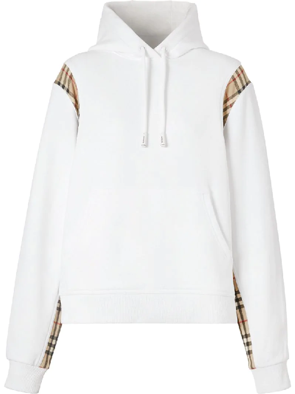 Burberry Vintage Check Panel Cotton Oversized Hoodie In White