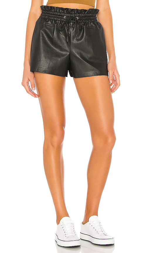 N:philanthropy Paperbag-waist Faux-leather Shorts In Black Cat