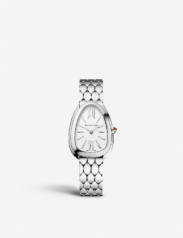 Bvlgari 103141 Serpenti Tubogas Stainless Steel And Opaline Watch In White Silver