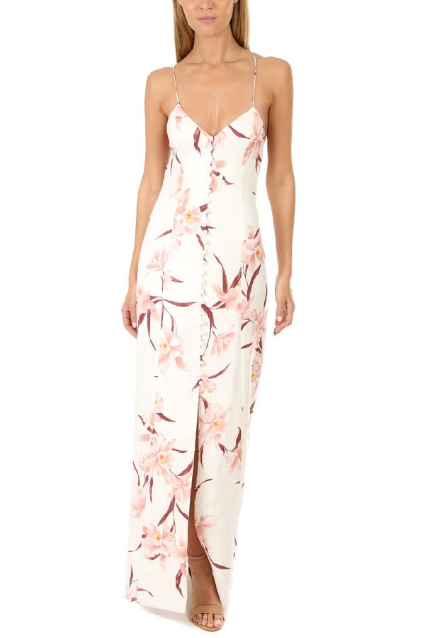Zimmermann Corsage Open-back Button-detailed Linen Maxi Dress In Blush