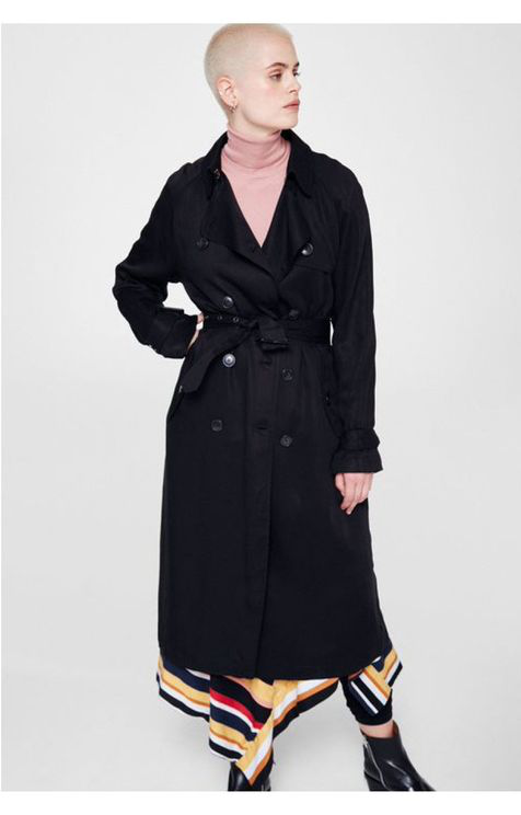 Armedangels Maxi Trench Coat In Black