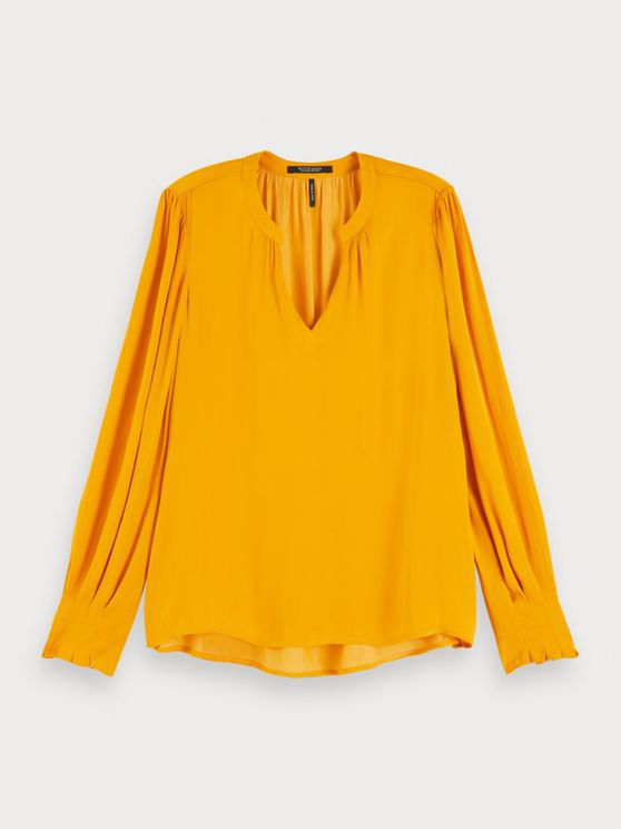 Maison Scotch Ruffled V-neck Top In Yellow