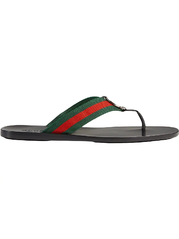 fbfdcd1fe Gucci Web   Leather Thong Sandals