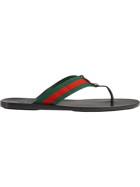 Gucci Web & Leather Thong Sandals, Green/Red In Black