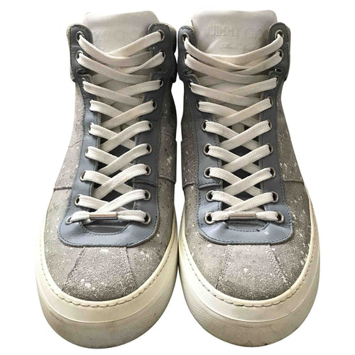 Pre-owned Jimmy Choo Grey Leather Trainers