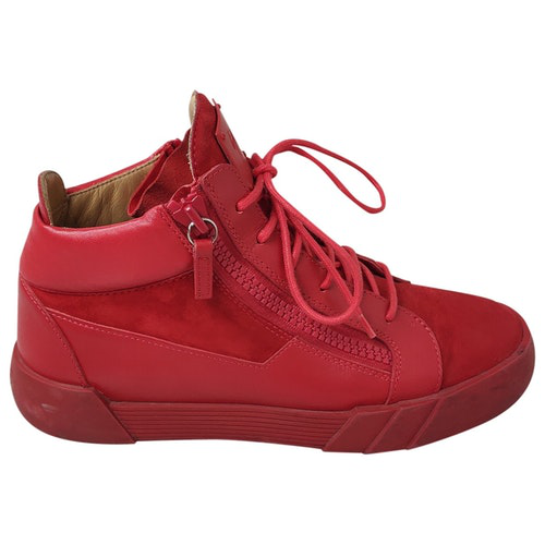 Pre-owned Giuseppe Zanotti Red Leather Trainers