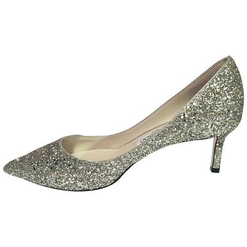 Pre-owned Jimmy Choo Romy Silver Glitter Heels