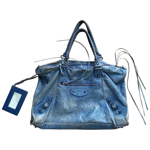 Pre-owned Balenciaga City Blue Leather Handbag