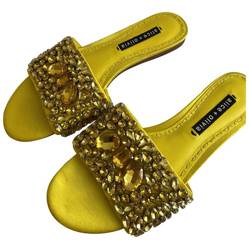 Pre-owned Alice And Olivia Yellow Glitter Sandals