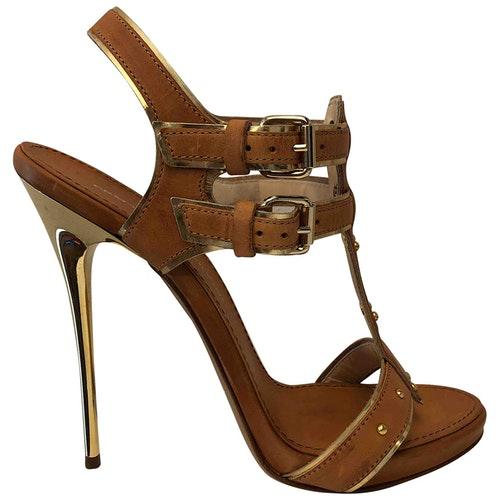 Pre-owned Ermanno Scervino Camel Leather Sandals