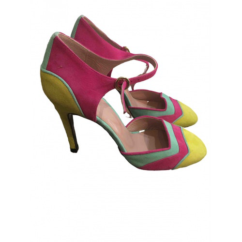 Pre-owned Moschino Multicolour Suede Heels