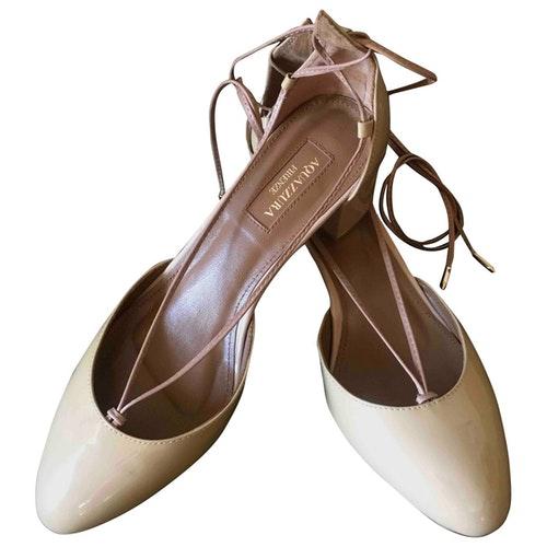 Pre-owned Aquazzura Beige Patent Leather Heels