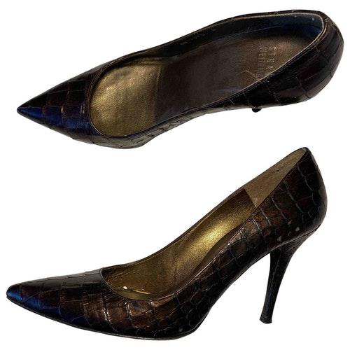 Pre-owned Stuart Weitzman Black Leather Heels