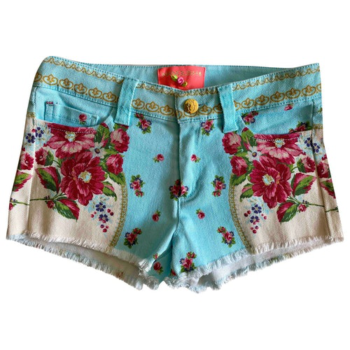 Pre-owned Manoush Turquoise Denim - Jeans Shorts