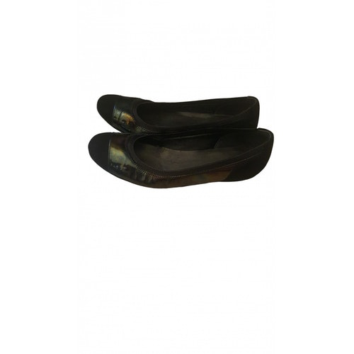 Pre-owned Gucci Black Suede Ballet Flats