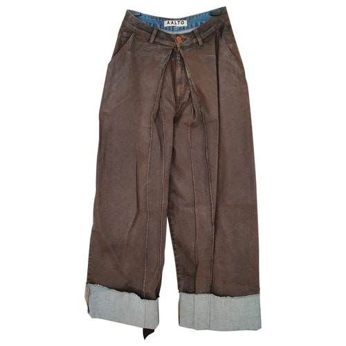 Pre-owned Aalto Brown Denim - Jeans Trousers