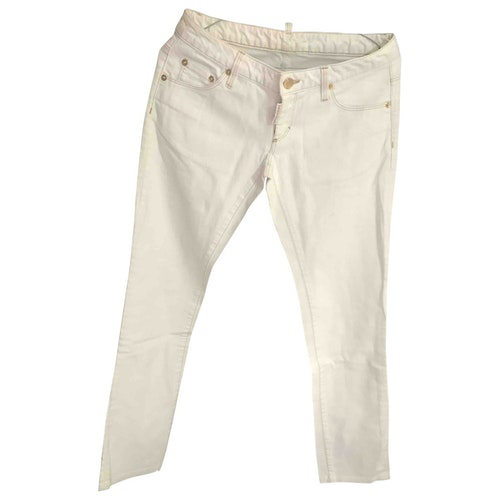 Pre-owned Dsquared2 White Cotton Trousers