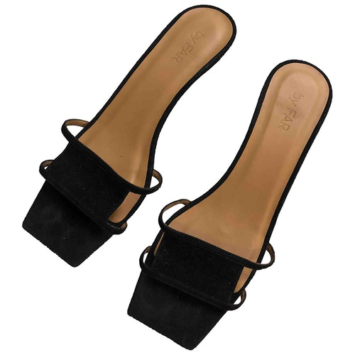 Pre-owned By Far Black Suede Sandals