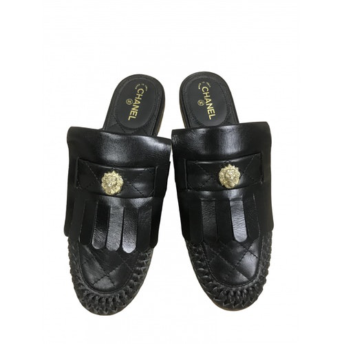 Pre-owned Chanel Black Leather Mules & Clogs