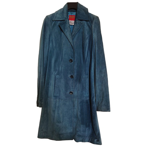 Pre-owned Kenzo Blue Suede Coat