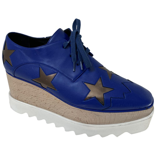 Pre-owned Stella Mccartney Blue Leather Lace Ups
