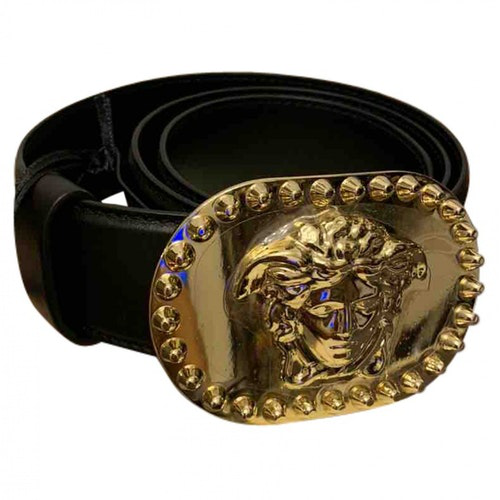 Pre-owned Versace Black Leather Belt