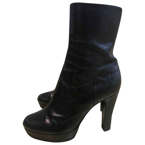Pre-owned Sergio Rossi Black Leather Ankle Boots