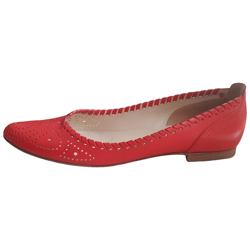 Pre-owned Sergio Rossi Red Leather Ballet Flats