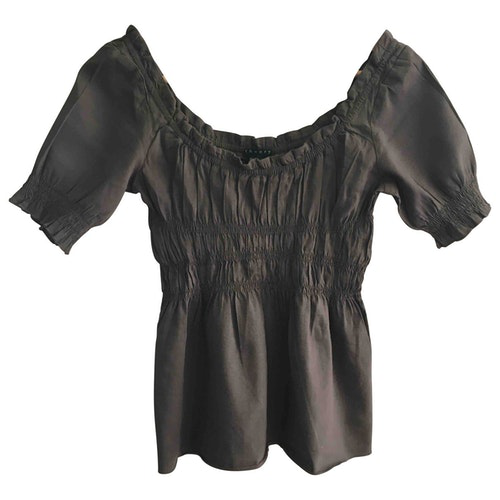 Pre-owned Theory Brown Linen  Top